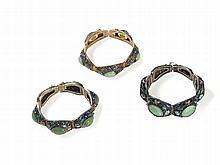 Three Embellished Silver and Gilt Filigree Bracelets, Qing