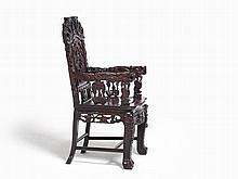 Opulent Armchair with Carved Dragon Decoration, China, Qing