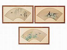 Set of Three Fan Paintings of Birds and Flowers, Japan, 19th C
