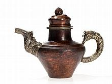 Copper Teapot with figural handle and spout, 1st H. 20th C