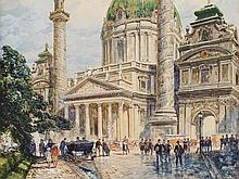 Friedrich Frank (1871-1945), Watercolor, Karlskirche, c. 1920