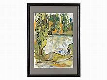 Jan Sluyters (1881-1957), Oil Sketch, Tree Group at Lake, 1919