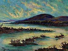 Erich Thum, Painting, 'Tote Wasser an der Donau', 1924