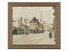 Jozsef Sandor, Oil on Canvas, Winter in the Village, c. 1920