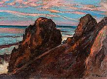 Mario Puccini, Painting, Rocky Coast in Italy, around 1907