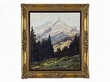 Otto Pippel, Oil Painting, Alpine Landscape, Germany, 1934
