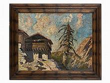 Oil Painting, Mountain Farm in the Style of Oskar Mulley,1930s