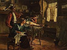 G. Bohson, Oil Painting, Interior with Family Scene, c. 1920