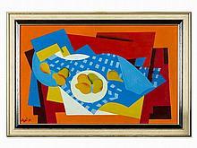 Ilona Aczél, Oil Painting, Still Life on Blue Tablecloth, 1981