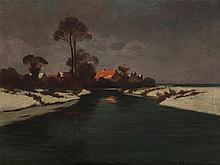 Copy after Carl Küstner, Oil Painting, Winter Afternoon, c.1930