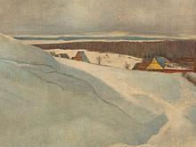 Friedrich Pontini (1874-1912), Painting, Winter Landscape, 1905