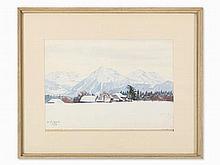 Plinio Colombi, Watercolor, Winter Landscape, Switzerland, 1916