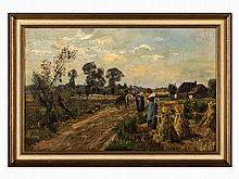 Oil Painting, Harvesting Peasant Woman, France, c. 1900