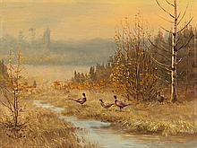 Willi Lorenz (1901-81), Autumn Landscape with Pheasants, 1970s