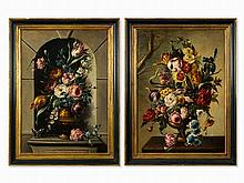 Pair of Paintings, Floral Still Life in Baroque Style, c. 1950