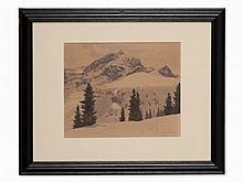 Leopold Scheiring, Watercolor, 'Alpspitz u. Kreuzeck', c. 1920