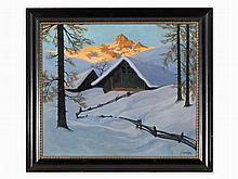 Karl Kasberger (1891-1969), Oil, Alpine Pasture in Winter, 1928