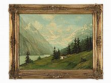 Oil Painting, Alpine Landscape with Lake, 1950s