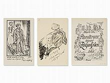Alfred Kubin, 3 Pen and Ink Drawings, Austria, 20th C.