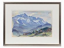 Friedrich Ludwig, Gray Mountains, Gouache, pres. 1940s