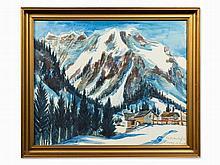 Franz Heckendorf (1888-1962), Snowy Mountains, Watercolor, 1939