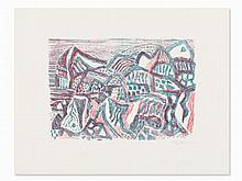 Eduard Bargheer, Vulkanische Landschaft, Colorlithograph, 1965