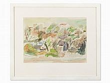 Jo von Kalckreuth (1912-1984), Park Landscape, Watercolor, 1960