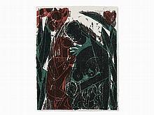 HAP Grieshaber, Paar, Woodcut in Colors, 1964