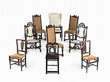 Collection of 9 Chairs and Armchairs, Europe and Asia, 19th C.