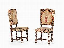 Pair of Historicism Hall Chairs with Embroidery, 19th C.