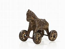 Bastar Bronze Figure of a Horse on Wheels, India, 19th/20th C