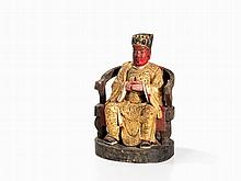 Daoist Wooden Figure of a Household Deity, China, ca. 19th C.