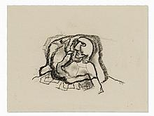 Carl Hofer (1878-1955), Face in the Rock, Chalk Drawing
