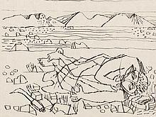 Eduard Bargheer, Ohne Titel (Der Gast), Drypoint, 1965