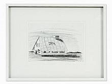 Dirk Skreber (b. 1962), A Farm House, Charcoal Drawing, 1994