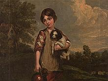 Child with Dog in Landscape, Oil Painting, 19th Century
