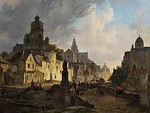 Bartholomeus-J. van Hove (1790-1880), Townscape, Oil, 1830