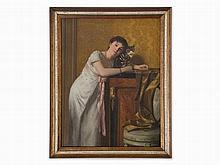 Paul Preyer (1847-1931), Portrait with Cat, Oil Painting c.1900