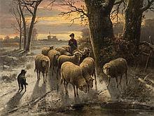 Alexis de Leeuw, Shepherd with Flock, Oil, 2nd H. 19th C.