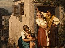 Oswald Adalbert Sickert (1828-1885), Family Scene, Oil, 1858