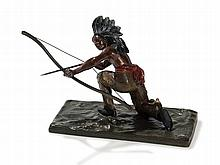 Carl Kauba, Bronze 'Bow Shooting Native American', c. 1950