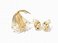 Demi Parure with Ear Studs and a Brooch, Diamonds and 18K Gold