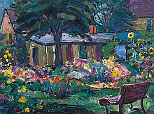 G. Judersleben (1898-1962), Painting 'My Garden', around 1950