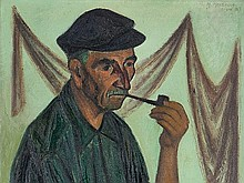Mario Mazzella (1923-2008), 'Smoking Fisherman with Pipe', 1963