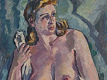 Otto Beyer (1885-1962), Painting with Female Nude, around 1950
