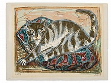 Otto Dix, Colour Lithography, 'Cat', Germany, 1959