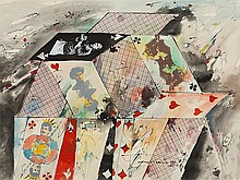 E. Gorokhovsky (1929-2004), Watercolour 'House of Cards', 1992