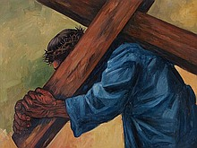 José Vela Zanetti (1913-1999), Large Oil Painting with Christ
