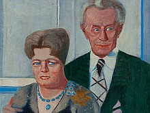 Seif Wanly, Oil Painting, 'Portrait of a Couple', Egypt, 1978