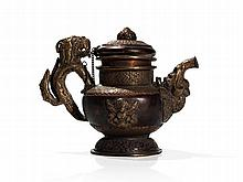 Copper Teapot with Figural Fittings, Tibet, 19th Century